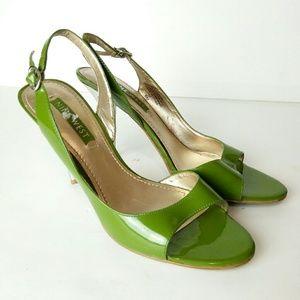 "Nine West Green Leather 3.5"" Heels"